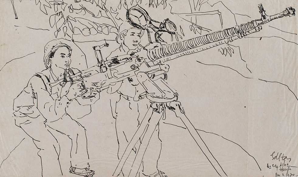 A sketch depicting Vietnamese soldiers using guns to defeat enemies in wartime by Hoang Dinh Tai
