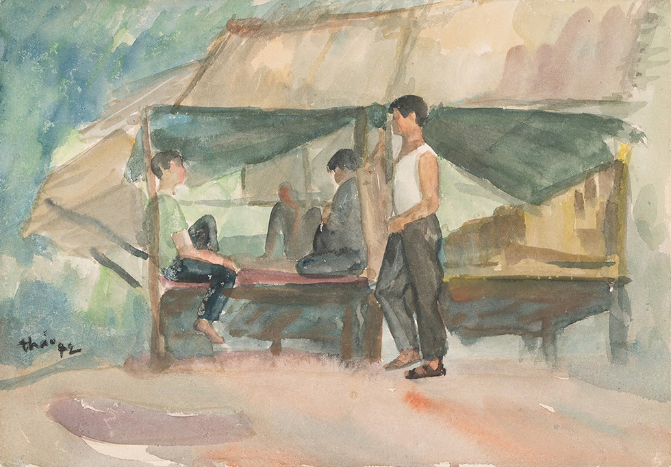 A painting of Vietnamese soldiers having a rest in a small tent in wartime by Chu Thao