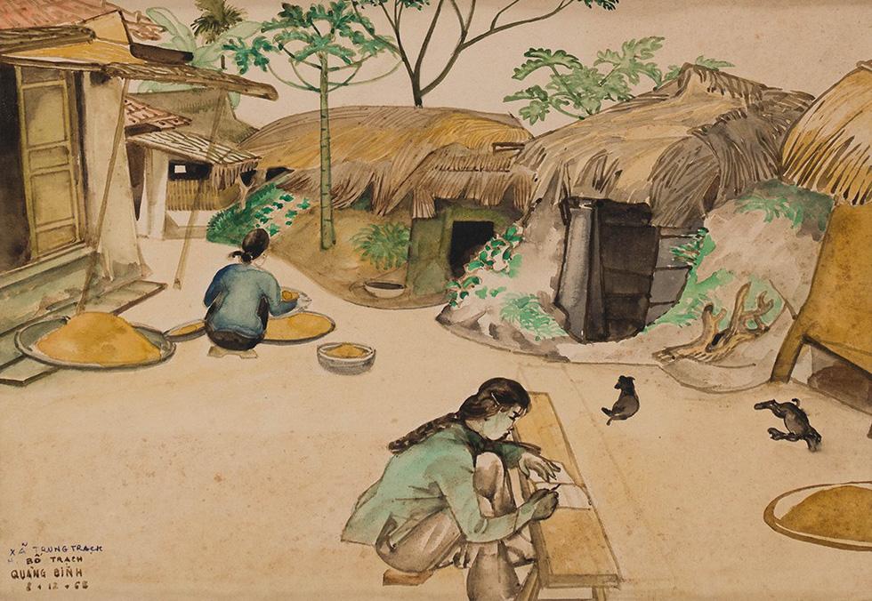 An art work portraying Vietnamese women doing daily chores in wartime by Dao Duc