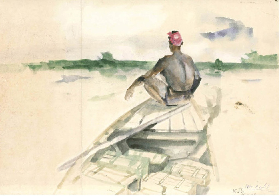 A painting portraying a man sitting on a boat prow in wartime by Huy Oanh