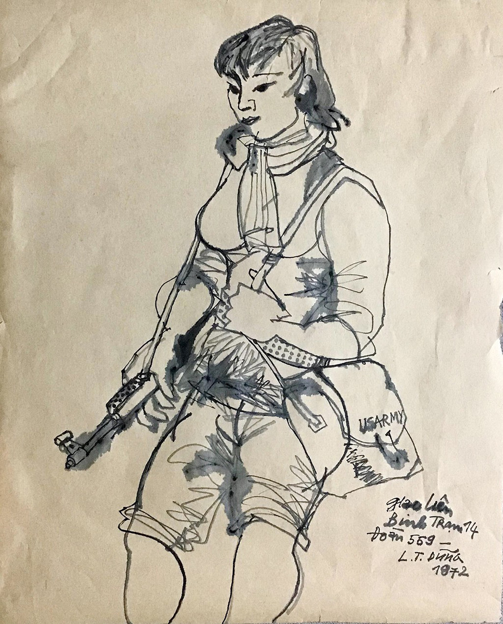 A sketch depicting a Vietnamese woman doing the job of guiding soldiers to avoid enemies in wartime by Le Tri Dung