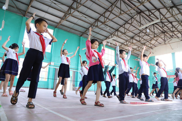 Students do exercise in Junko Primary School in Quang Nam, central Vietnam. Photo: Doan Cuong / Tuoi Tre