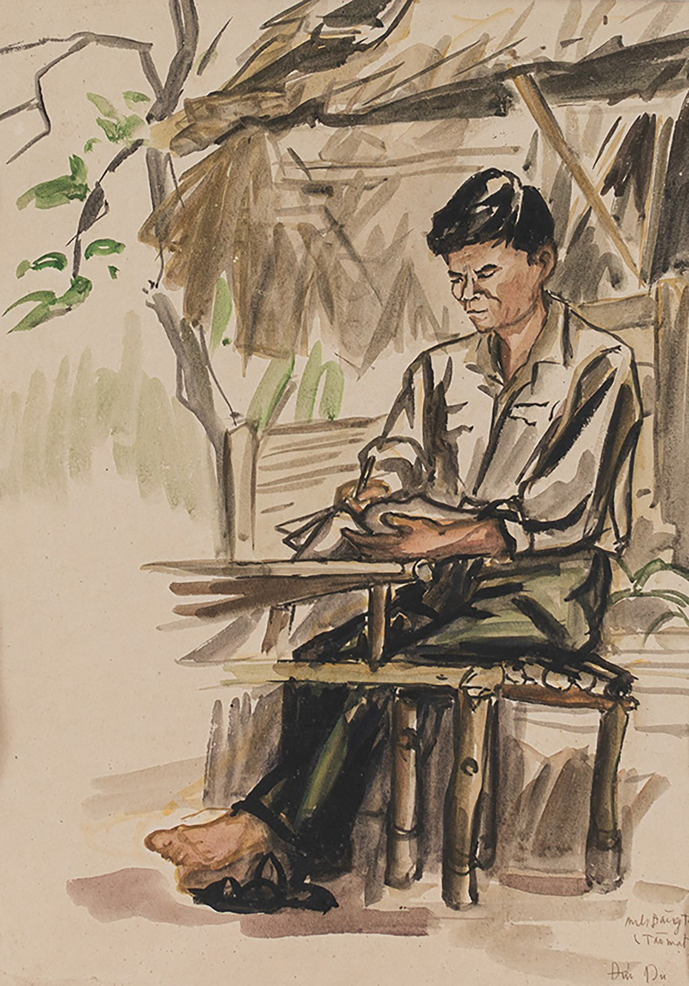 A painting portraying a Vietnamese soldier writing his journal in wartime by Nguyen Duc Du