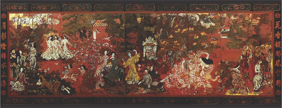 'Vuon Xuan Trung Nam Bac' by Vietnamese painter Nguyen Gia Tri before cleaning. Photo: Ho Chi Minh City Fine Arts Museum
