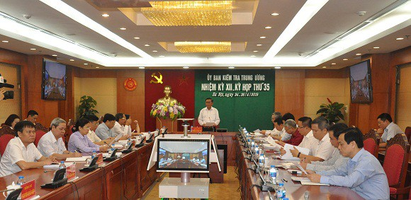 The Inspection Commission of Vietnam's Party Central Committee convenes a meeting in late April 2019 in this photo taken from the commission's website.
