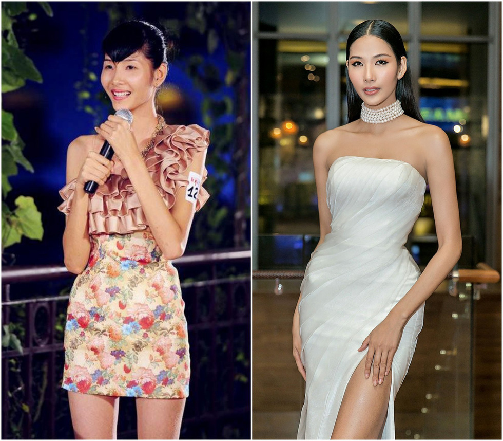 Hoang Thuy in 2011 (L), when she appeared on Vietnam's Next Top Model, and today.