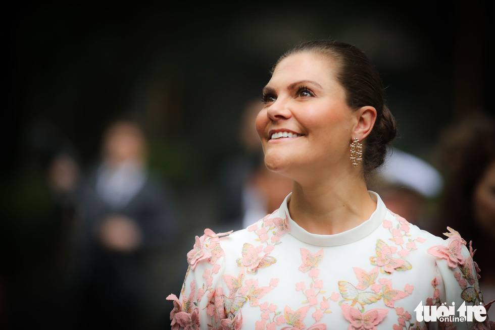Crown Princess Victoria is pictured in Hanoi.