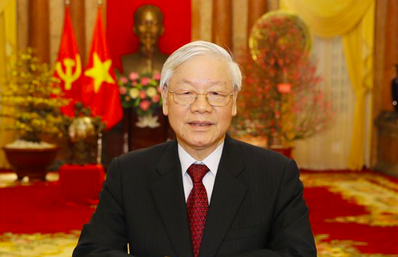 4/ Vietnamese Party General Secretary and State President Nguyen Phu Trong delivers a televised Lunar New Year address to the nation on February 5, 2019. Photo: Vietnam News Agency