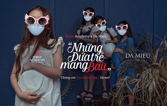 A photo in the 'Nhung Dua Tre Mang Bau' album by SHINE Academy that has been altered by a local journalist, adding sunglasses and masks to help cover the models' faces.