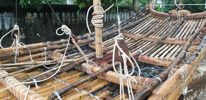 A close-up of an ancient bamboo raft. Photo: Bamboo Raft Team