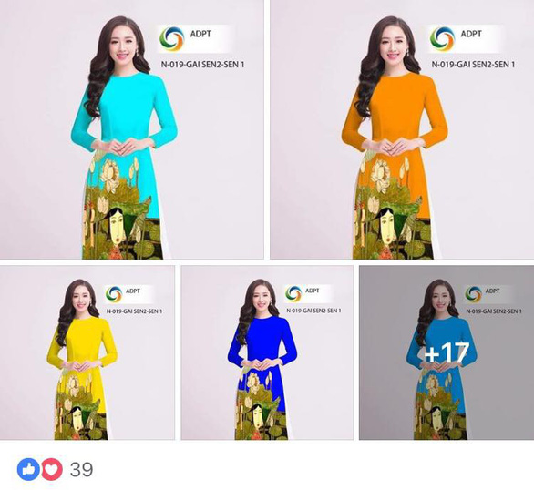 Some ao dai designs by P.T company illegally copy artist Bui Trong Du's paintings
