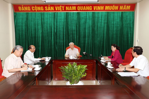 Vietnamese Party General Secretary and State President Nguyen Phu Trong (C) chairs a meeting in Hanoi on May 14, 2019. Photo: Vietnam News Agency