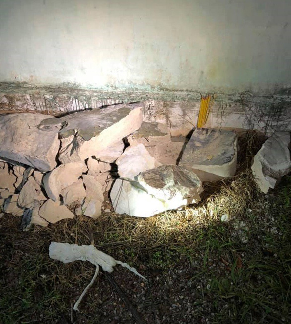 The concrete in which the second body was found after being broken up. Photo: Tuoi Tre contributor