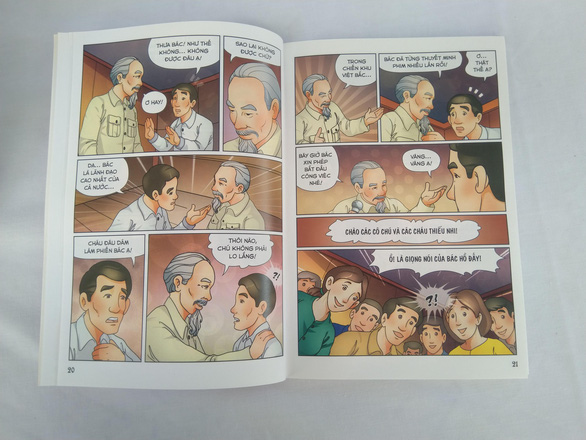 A page of a comic about Uncle Ho is seen in this photo taken in Hanoi. Photo: Thien Dieu / Tuoi Tre