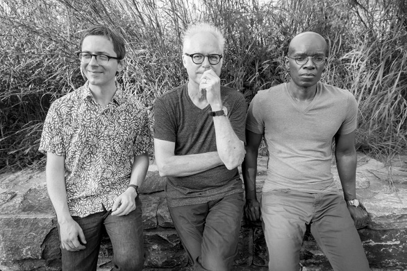 From left, bassist Thomas Morgan, guitarist Bill Frisell, and drummer Rudy Royston. Photo: AMBERSTONE