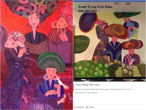 Ha Hung Dung's original painting (left) and Tran Tuan's counterfeit (right)