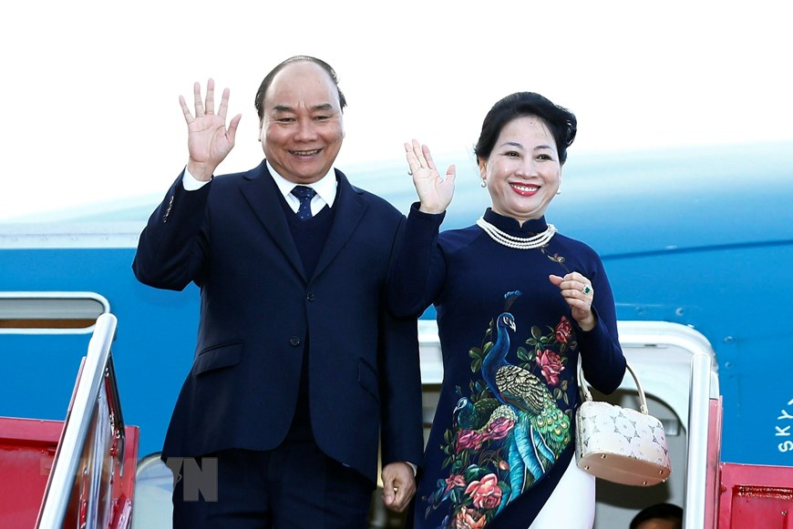 Vietnamese Prime Minister Nguyen Xuan Phuc and his wife arrive in Oslo, Norway on May 23, 2019. Photo: Vietnam News Agency