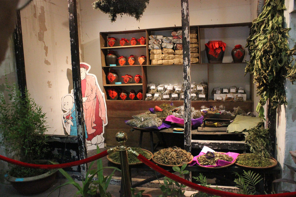 A store selling traditional eastern medicine is recreated at Tet Doan Ngo past and present exhibition held in Hanoi from May 24 to June 30, 2019. Photo: Tuoi Tre
