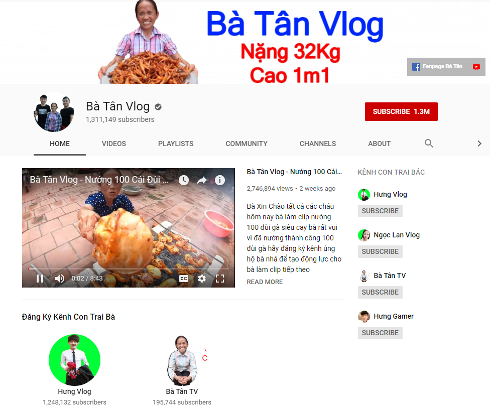 A screen grab of Ba Tan Vlog's YouTube channel taken on May  27, 2019