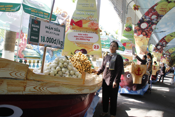 <em>A stall selling milky plums at VND18,000 (US$0.7) per kilogram</em>