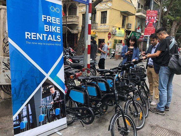 Bicycles available for free rental are seen in Hanoi. Photo: Supplied