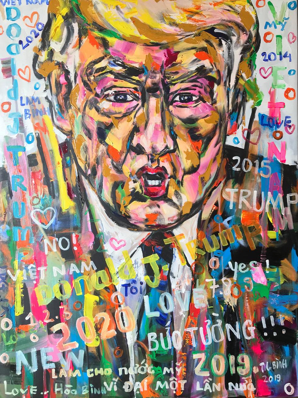 A portrait of U.S. President Donald Trump by Tran Lam Binh