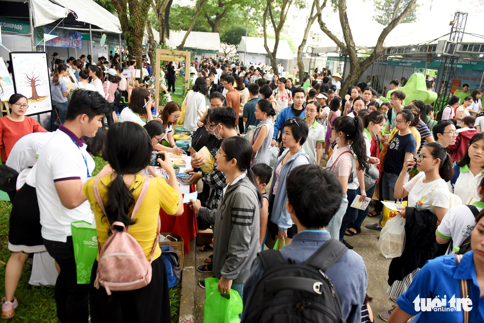 Visitors exchange old books for trees at Ho Chi Minh City green fest