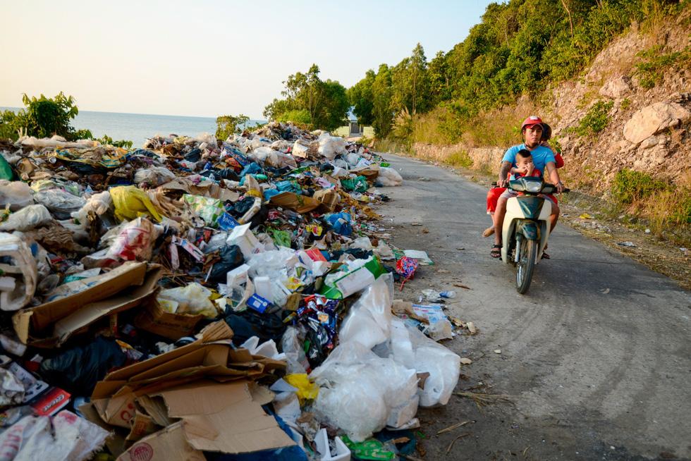 Trash fills a street on Nam Du Islands off Kien Giang Province.