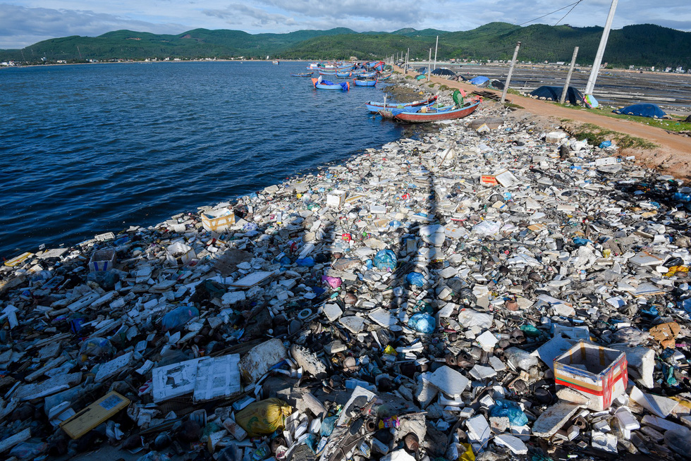 Plastic waste along the coast in the south-central province of Quang Ngai