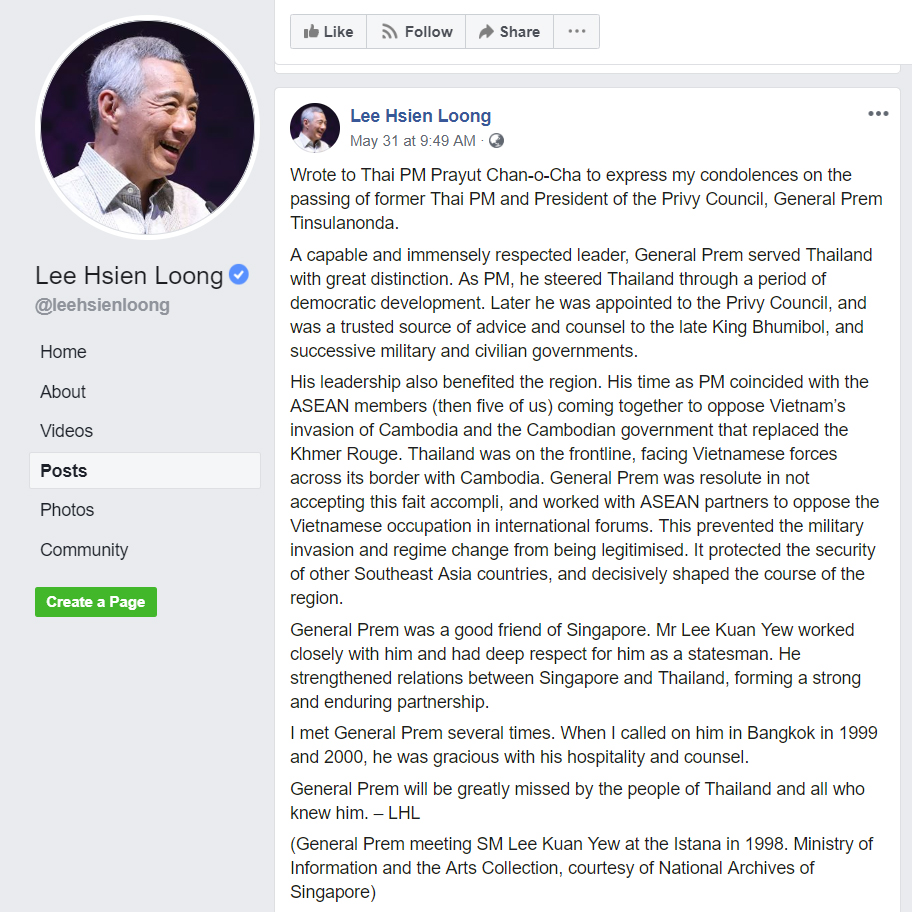 A screen grab of a May 31, 2019 Facebook post by Singaporean Prime Minister Lee Hsien Loong that includes comments on Vietnam's presence in Cambodia in 1979.