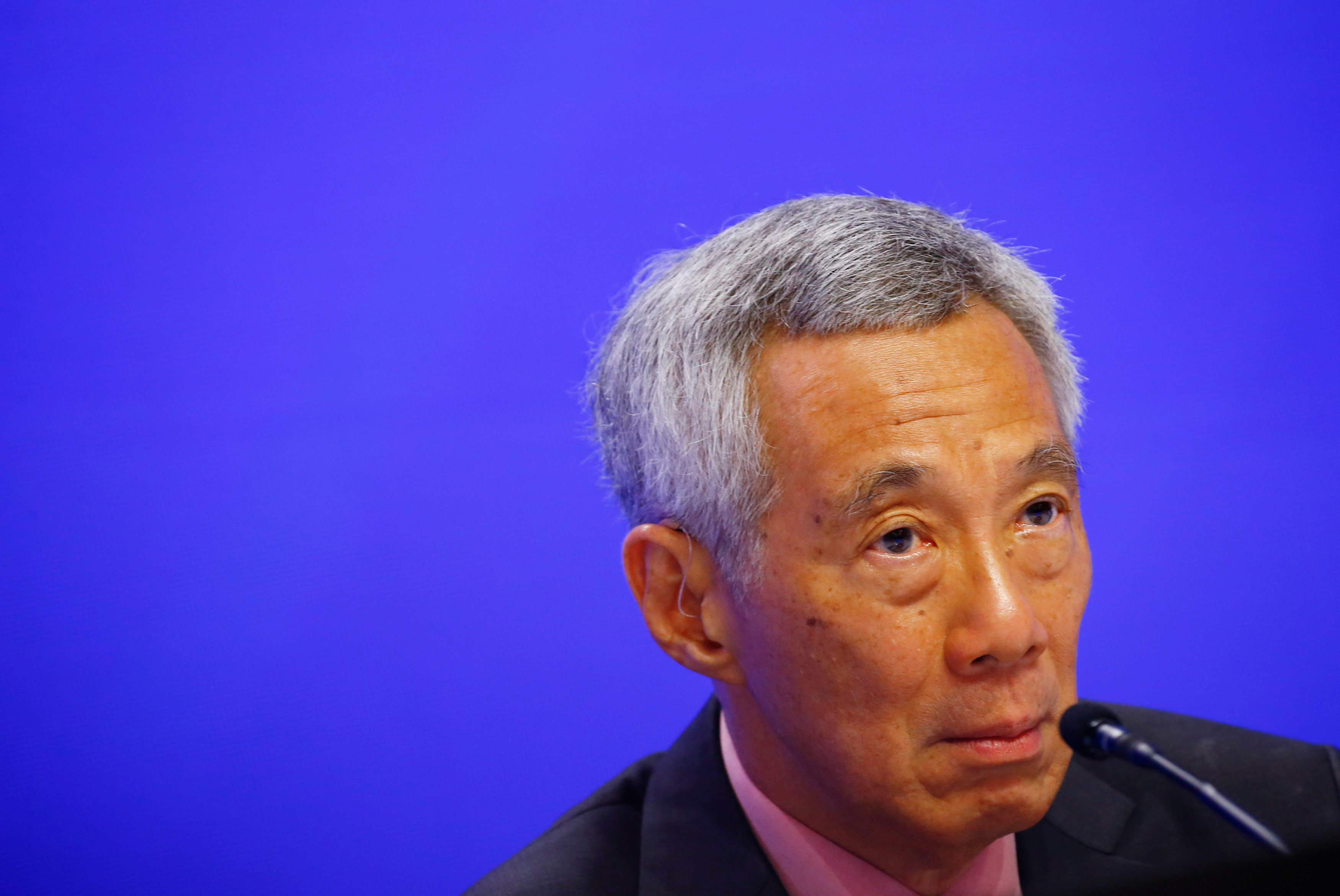 Singaporean Prime Minister Lee Hsien Loong is pictured at the 18th Shangri-la Dialogue in Singapore on May 31, 2019. Photo: Reuters