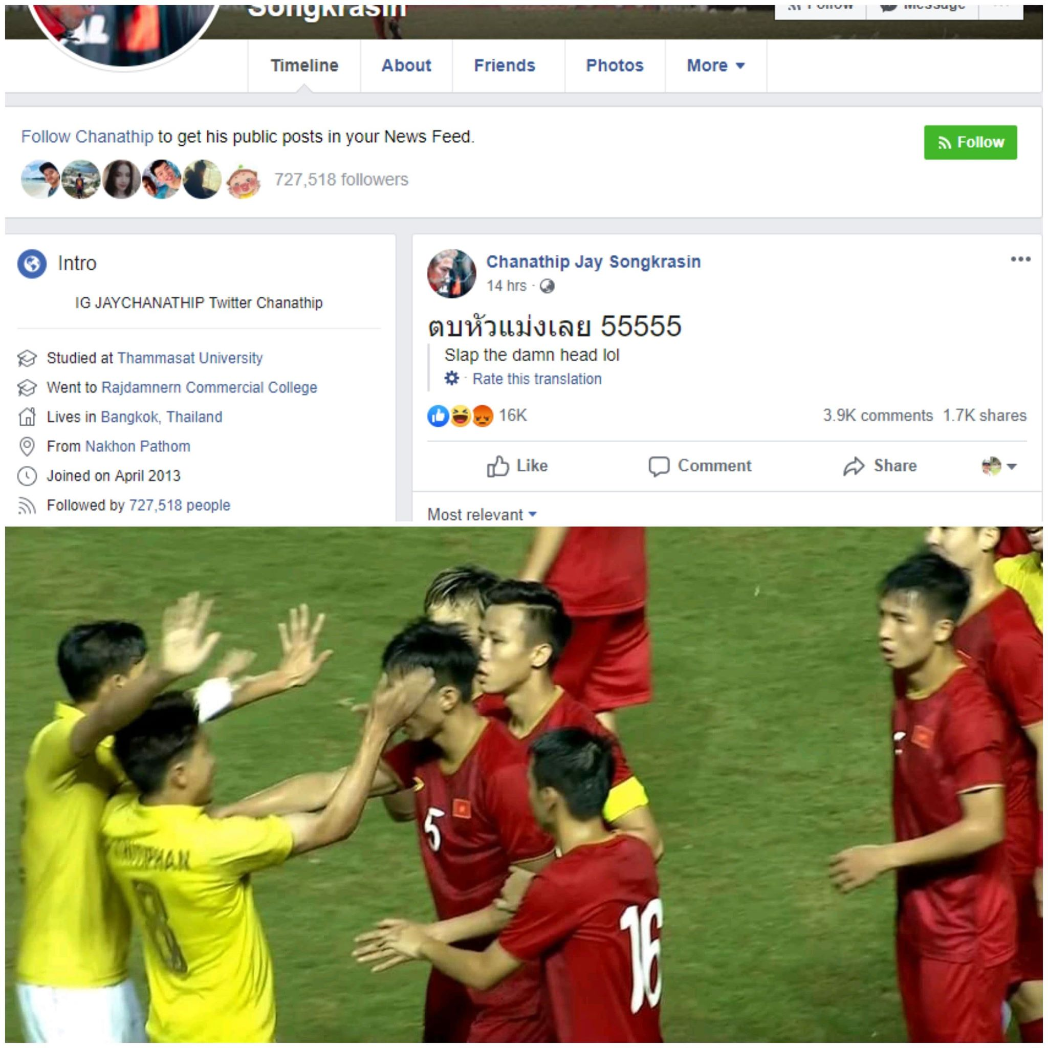 This combined photo shows the controversial post on Chanathip Songkrasin Facebook and the situation when Vietnamese and Thai players got into a quarrel during their King's Cup game on June 5, 2019.