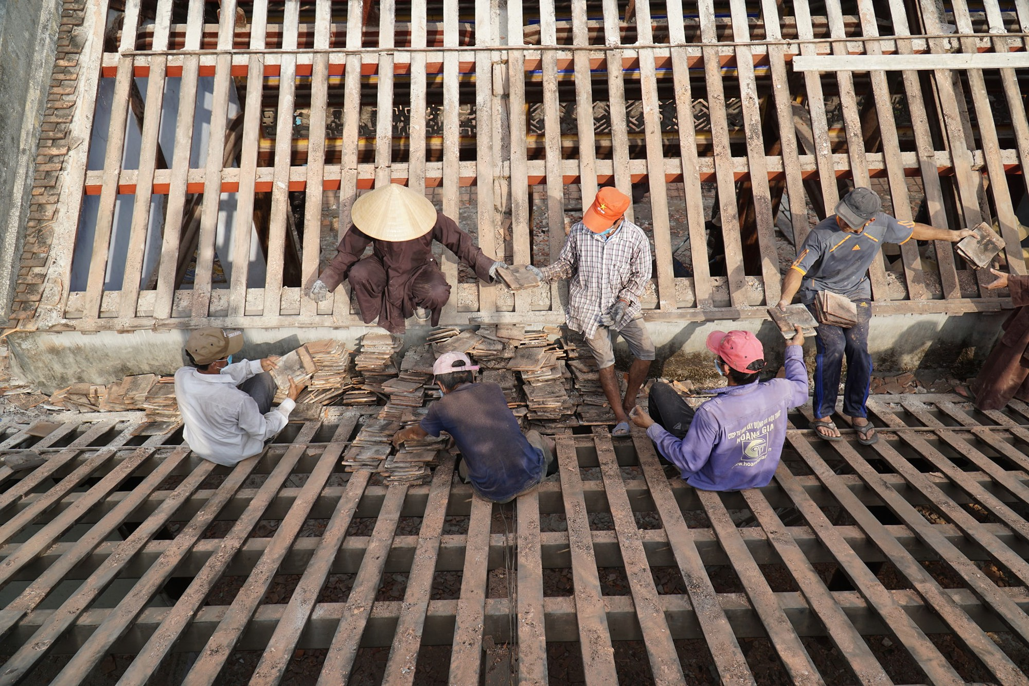 Workers build the new main structure of the Tu Hieu Pagoda in Hue, Vietnam in this photo uploaded to the pagoda's official Facebook page.