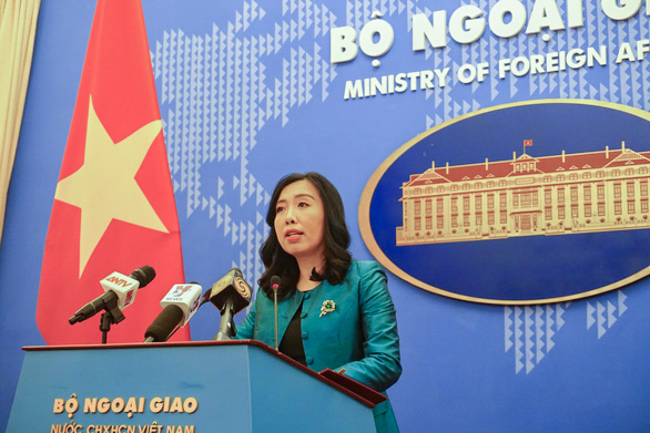 Vietnamese Foreign Ministry Spokesperson Le Thi Thu Hang at a press briefing in Hanoi on June 6, 2019. Photo: Nhat Dang / Tuoi Tre