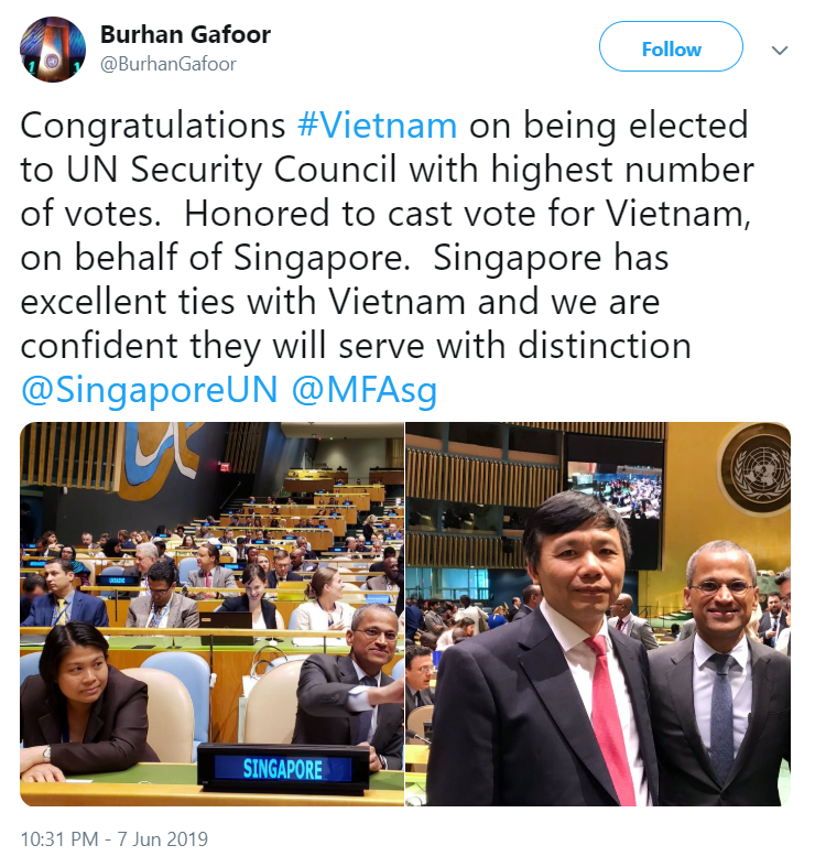 A screen grab of a Twitter post by Singapore's permanent representative to the United Nations Burhan Gafoor, in which he congratulates Vietnam on winning an election to become a non-permanent member of the UN Security Council for the 2020-21 term.