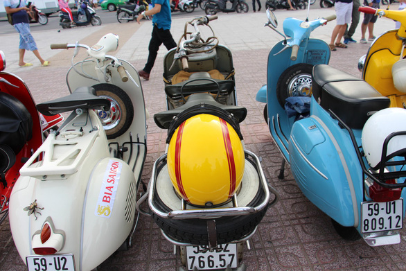 Vintage Vespa scooters are showcased in Nha Trang City, Vietnam on June 9, 2019. Photo: Thai Thinh / Tuoi Tre