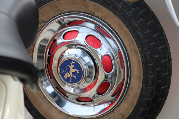 A detail on one vintage  Vespa scooter showcased at an event in Nha Trang City, Vietnam on June 9, 2019. Photo: Thai Thinh / Tuoi Tre