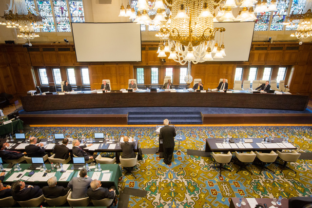 The arbitral tribunal in The Hague, Netherlands, listens to the first country that brought China to court over the East Vietnam Sea in this photo courtesy of the Permanent Court of Arbitration.