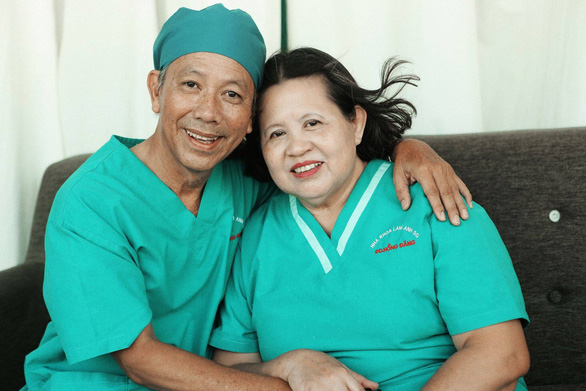 Dr Pham Truong Giang and his wife - who has helped him combat his multiple cancers for 16 years. Photo: Supplied