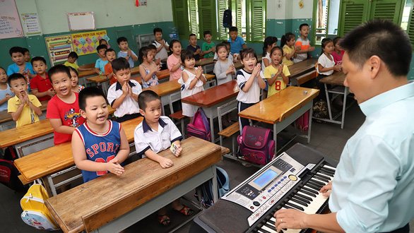 Students of Ky Dong Elementary School (District 1, Ho Chi Minh City) sing at a summer music course. Photo: Nhu Hung / Tuoi Tre