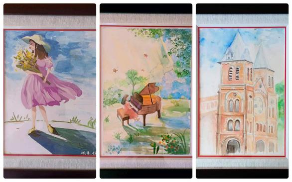 Some of Lao Lai Minh Thu's artworks. Photo: Ngoc Thuy / Tuoi Tre