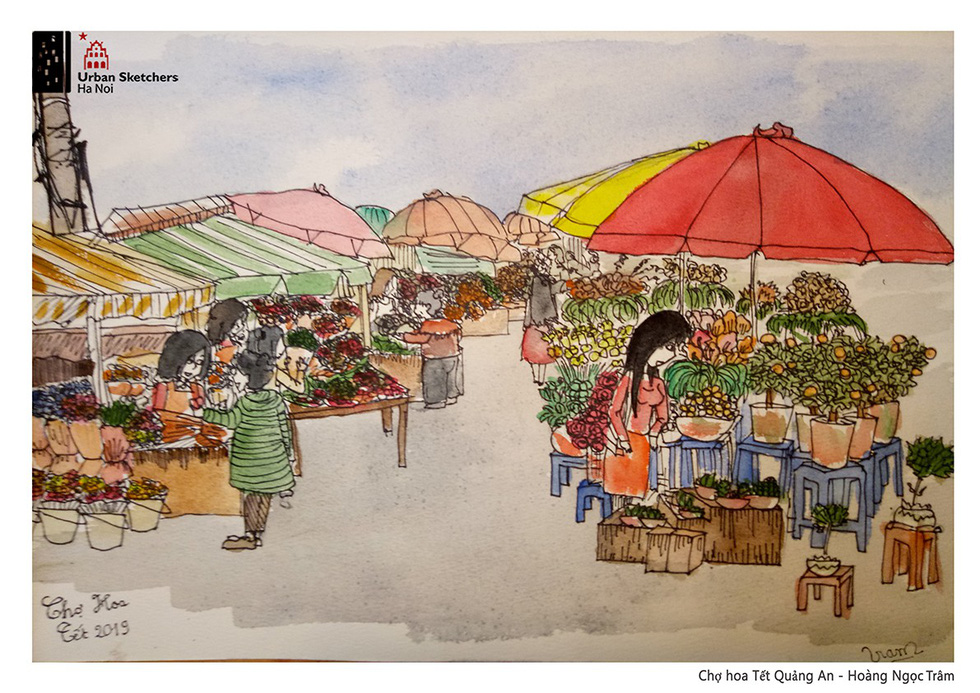 A painting by Ngoc Tram depicts Quang An Lunar New Year market in Tay Ho District, Hanoi
