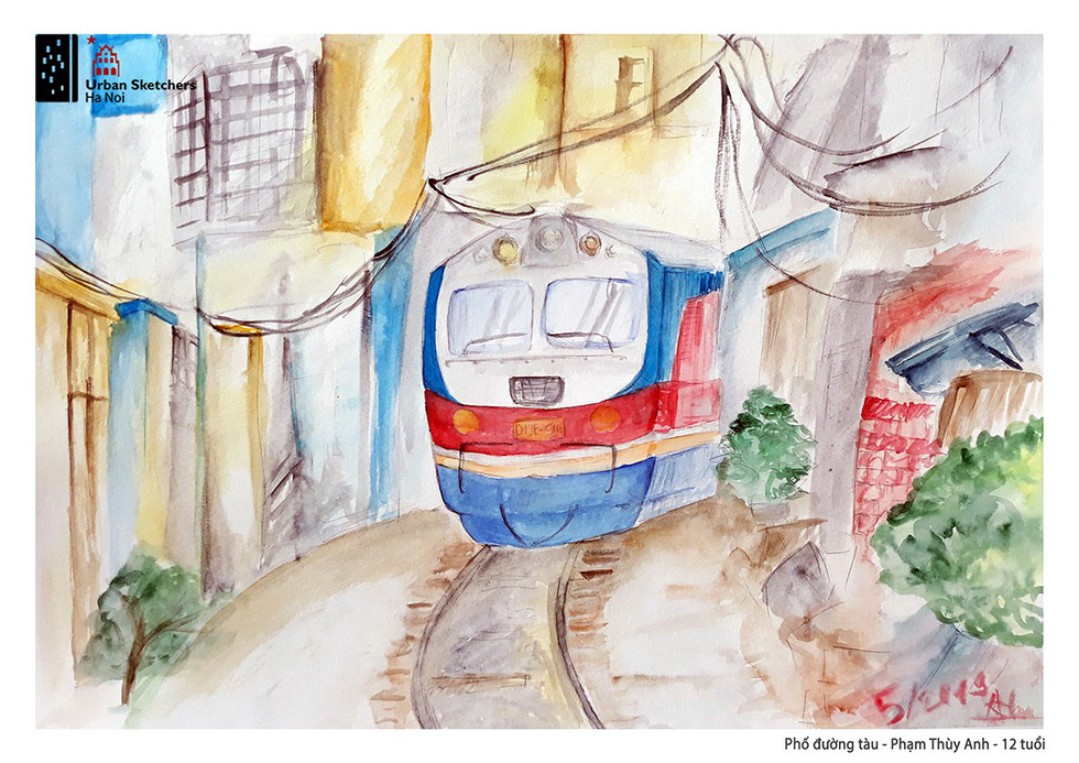 A painting by Thuy Anh depicts a train passing through Hanoi