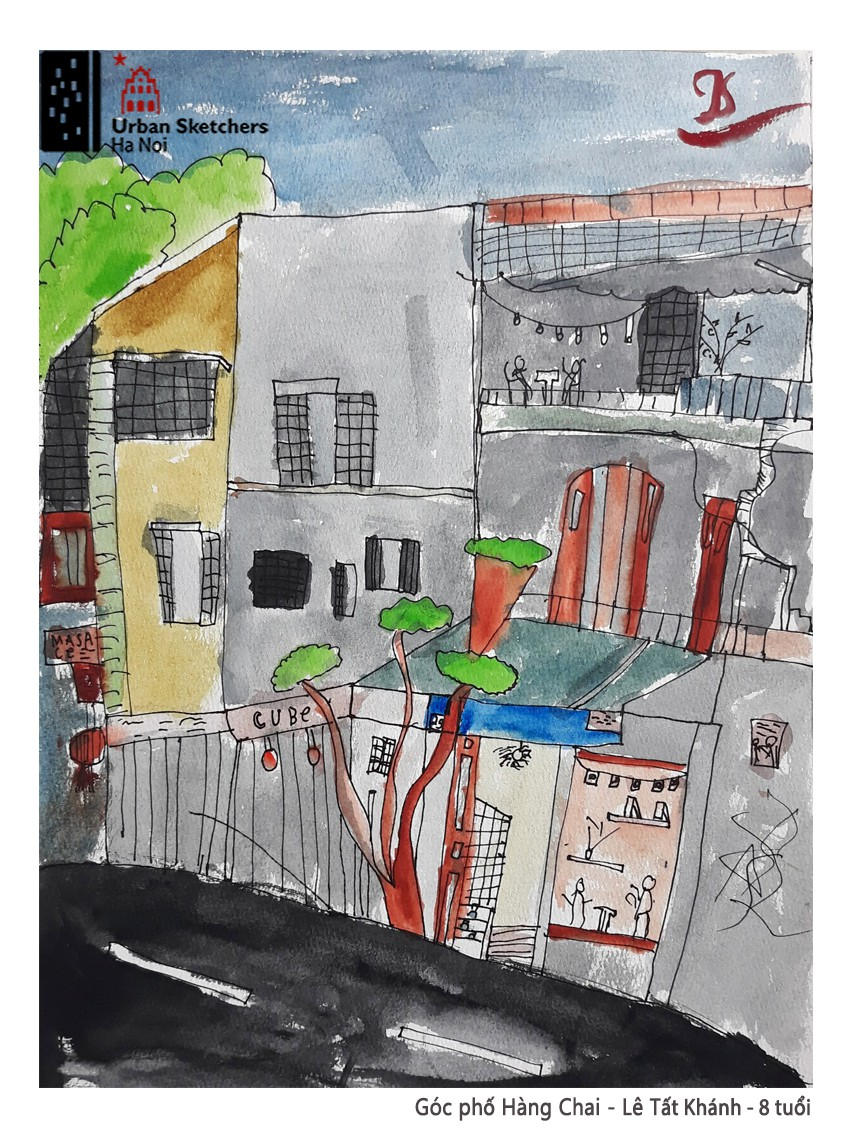 A painting by Tat Khanh depicts Hang Chai Street in Hoan Kiem District, Hanoi
