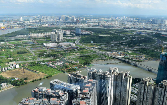 The Thu Thiem New Urban Area in District 2, Ho Chi Minh City is pictured from above. Photo: Tu Trung / Tuoi Tre