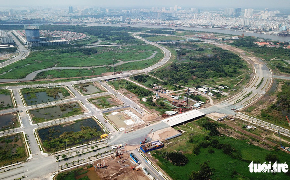 The Thu Thiem New Urban Area in District 2, Ho Chi Minh City is pictured from above. Photo: Tuoi Tre