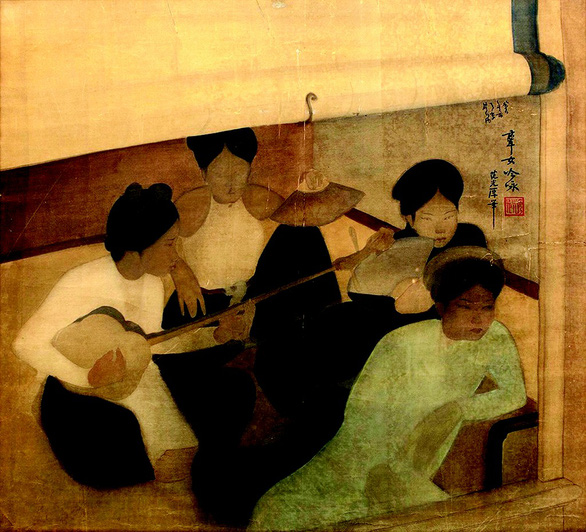 Pham Hau's silk painting Femmes musiciennes