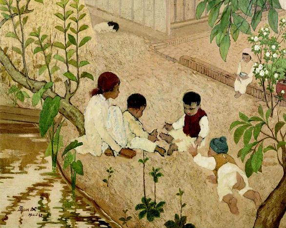 Le Van De's painting Enfants jouant au jardin