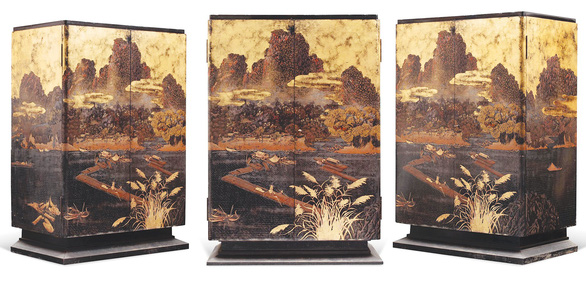 Pham Hau's artwork Lacquer cabinet decorated with a scenery resembling northern Vietnam