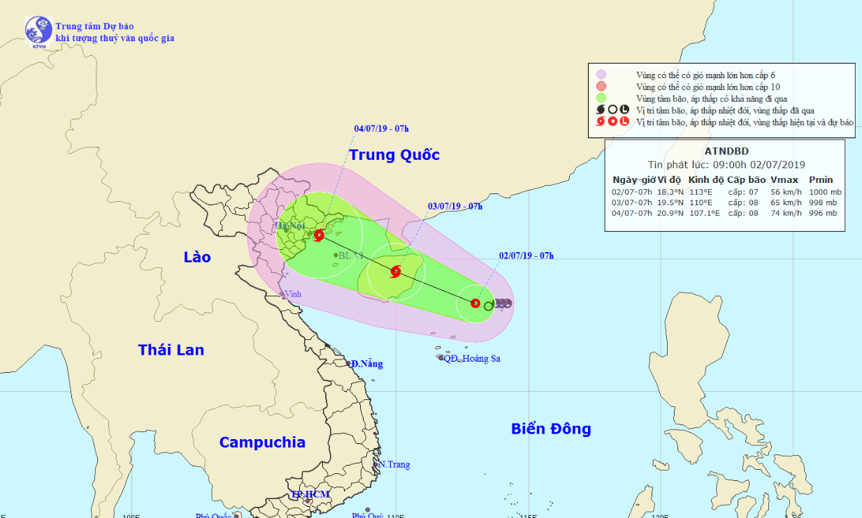 Tropical depression to become storm, bringing downpours to northern, north-centralVietnam